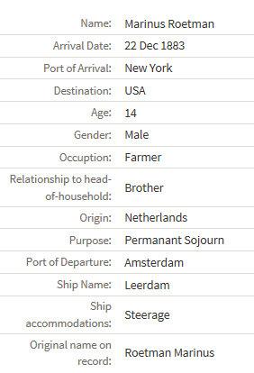 Marinus_Roetman immigration