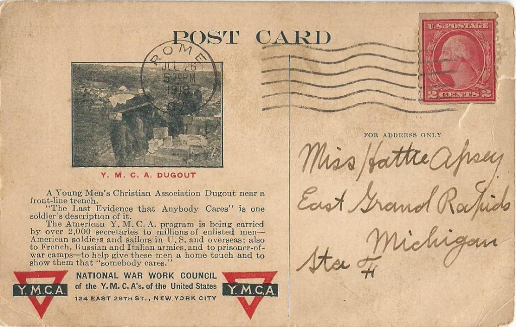 postcard addressed to hattie roetman_ww1