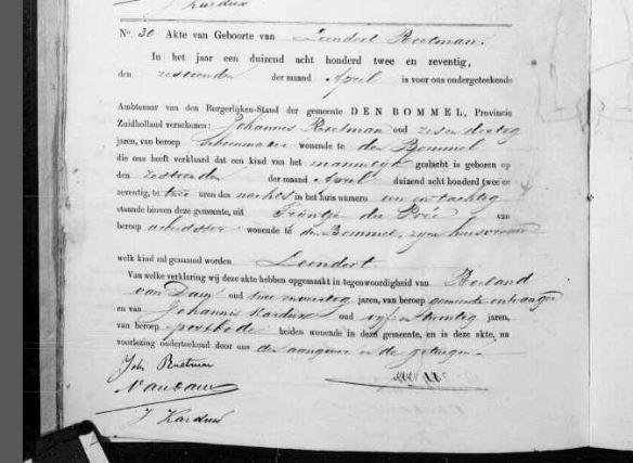 Birth certificate Leendert Roetman 1872