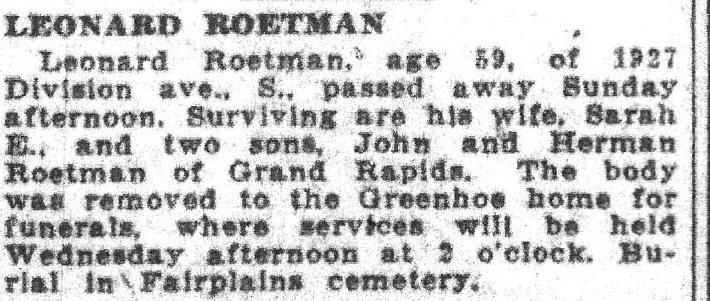 Leonard Roetman obit GR Herald