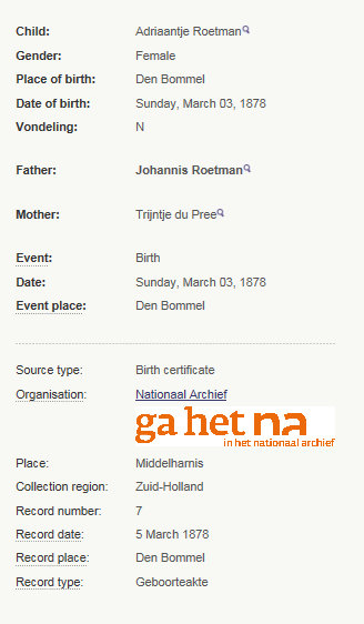 birth adriaantje roetman 1878