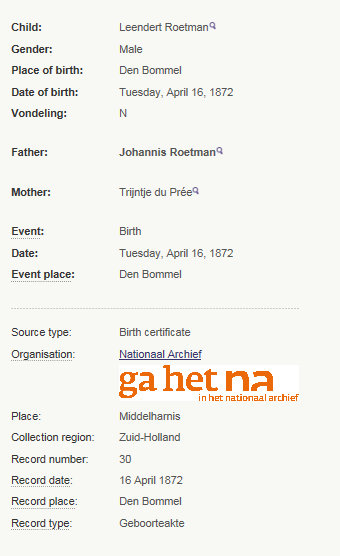 birth leendert roetman 1872