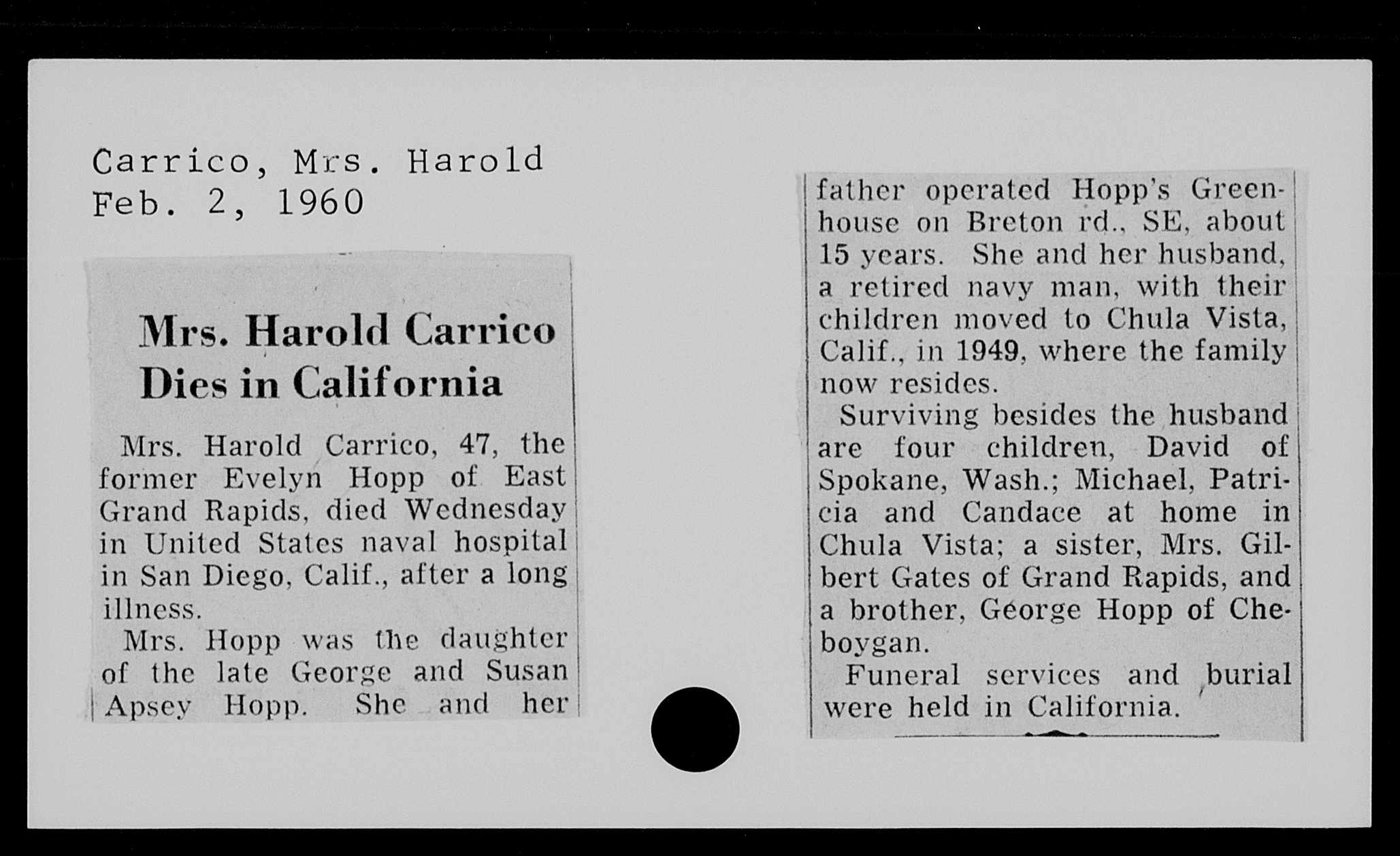 evelyn hopp carrico obit