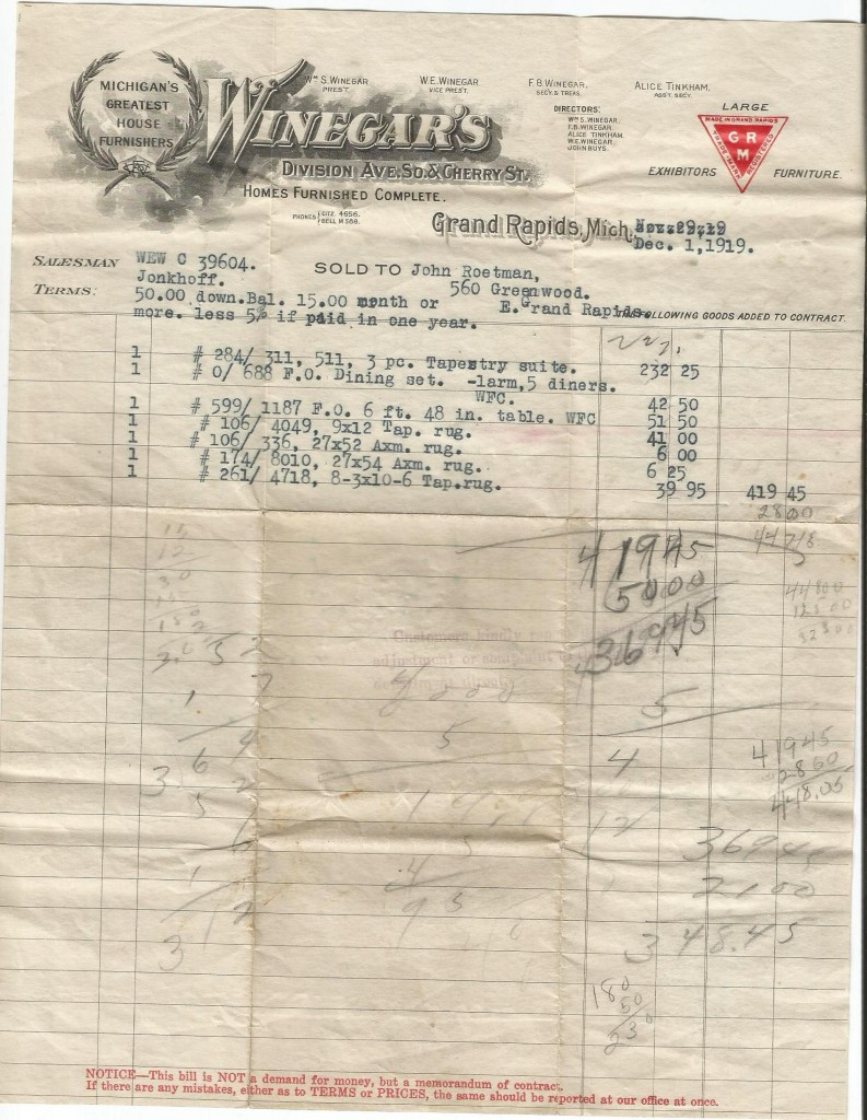 furniture receipt 1919