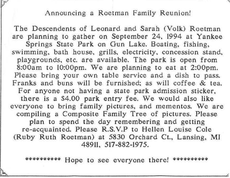 invitation to roetman reunion