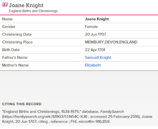 joane Knight birth