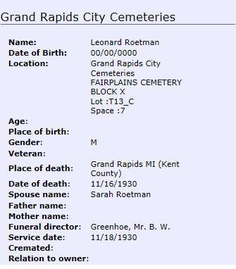 leonard roetman burial