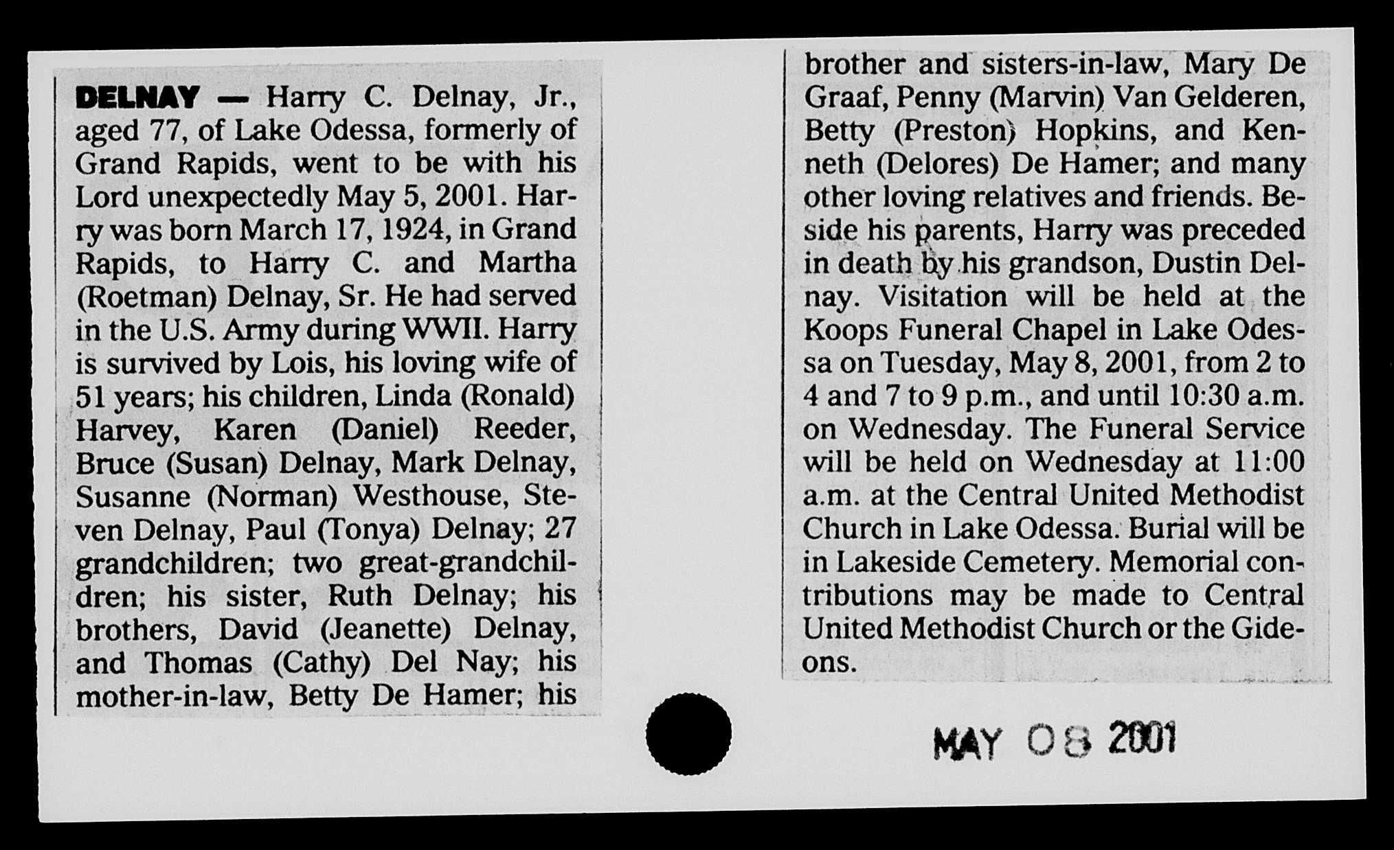 harry delnay obit