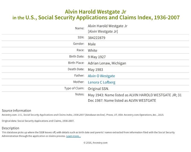 Alvin Harold Westage jr ss