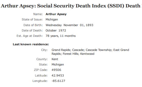 Arthur Apsey_ss death