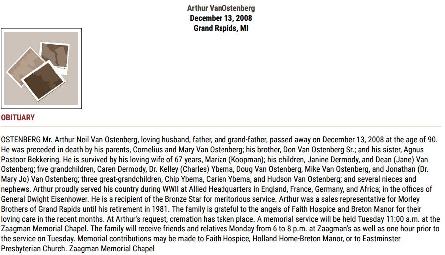 Arthur Van Ostenberg_obit
