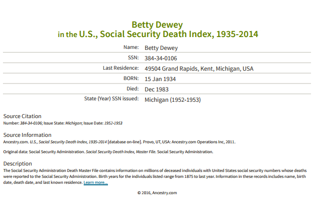 Betty Dewey_ss death index