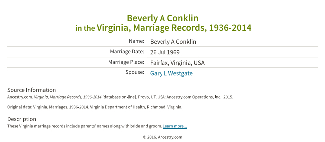 Beverly A Conklin_marriage