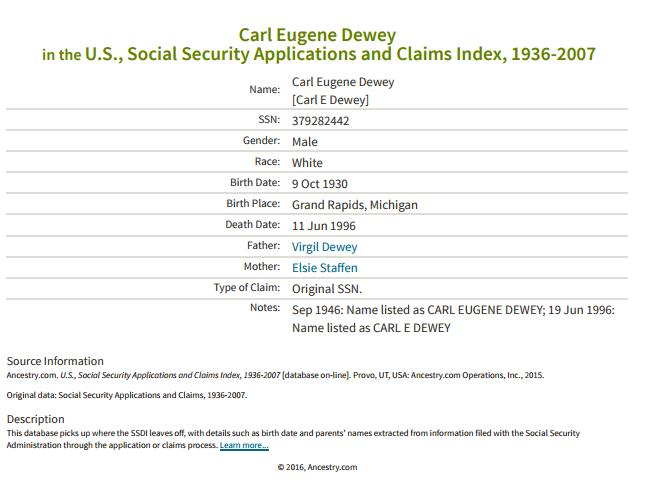 Carl Dewey_ss claim