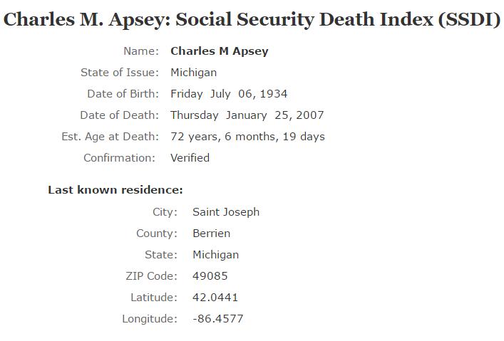 Charles M Apsey_ssdi