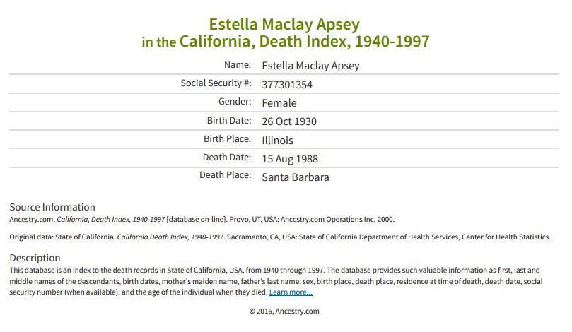 Estella Maclay Apsey_death
