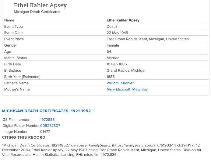 Ethel Kahler_death