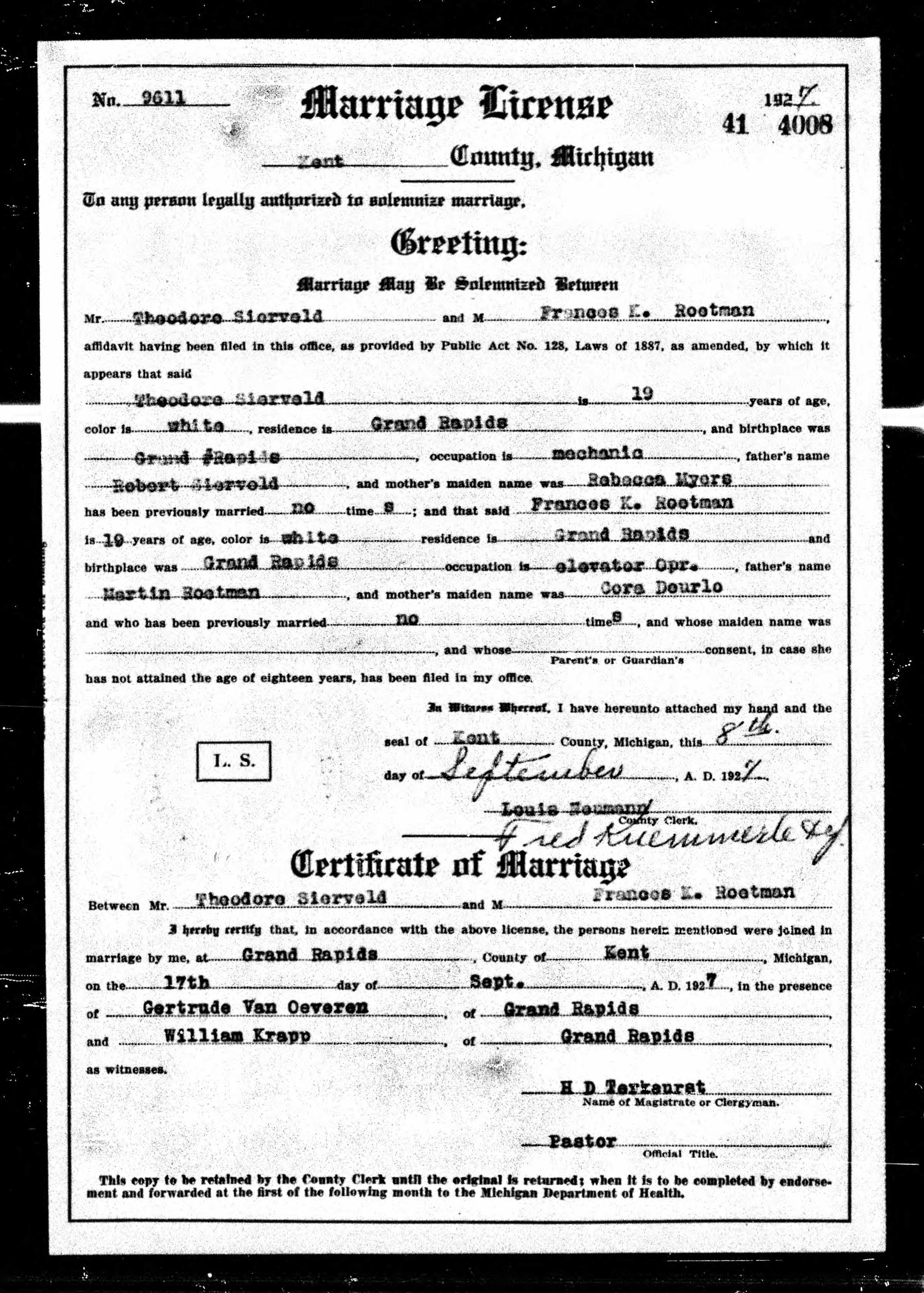 Frances Catherine Roetman marriage
