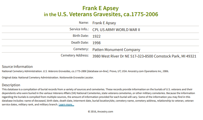 Frank E Apsey_Vetern grave