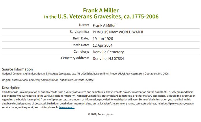 Frank Miller Jr_vetern gravesite