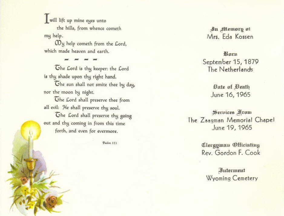 Funeral card Eda Edzenga Kossen