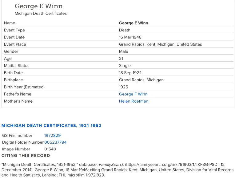 George E Winn_Death