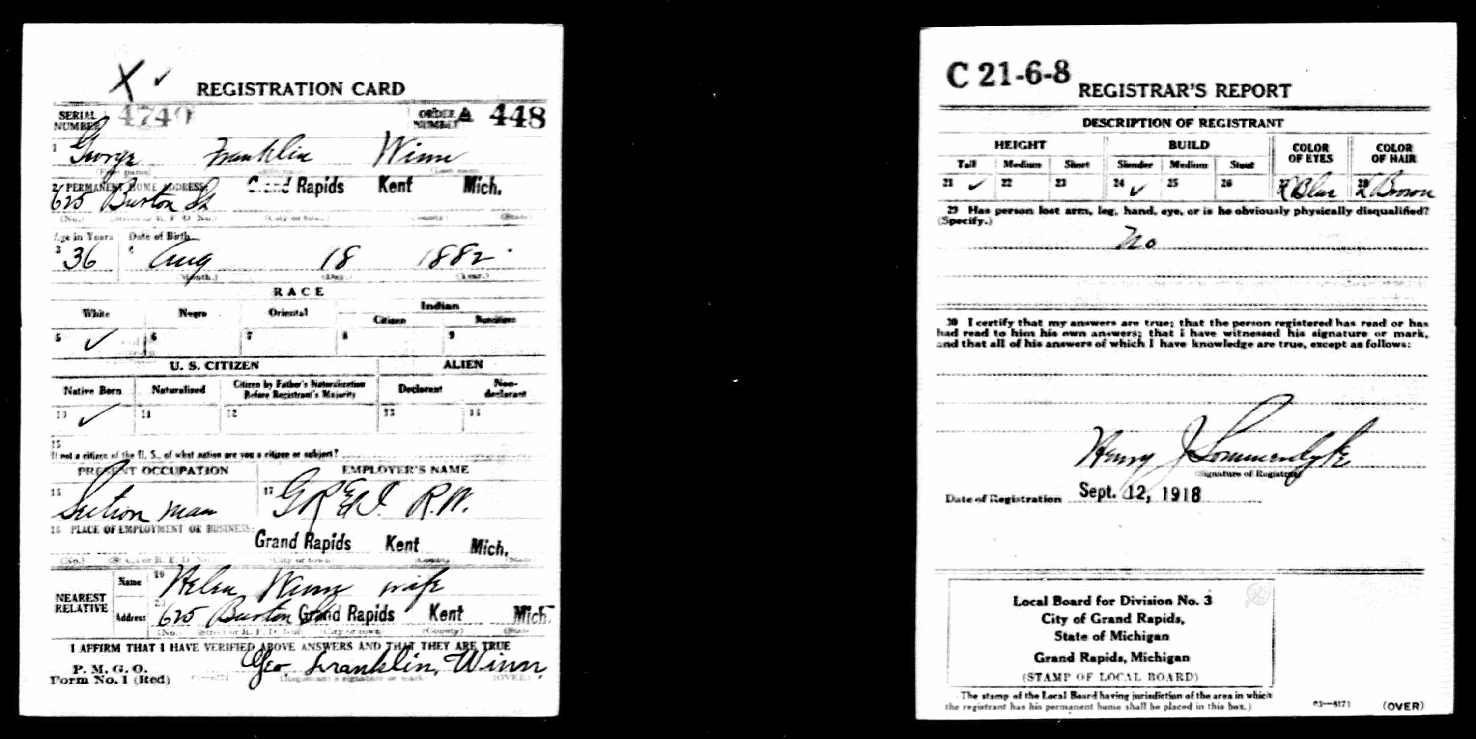 George Franklin Winn draft WWI