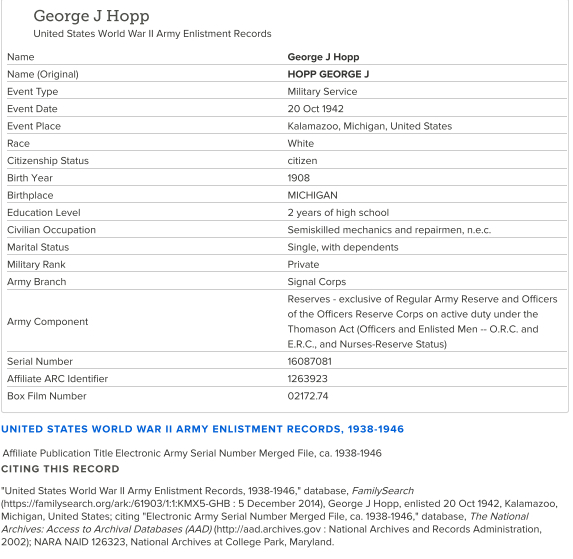 George Hopp jr_enlistment