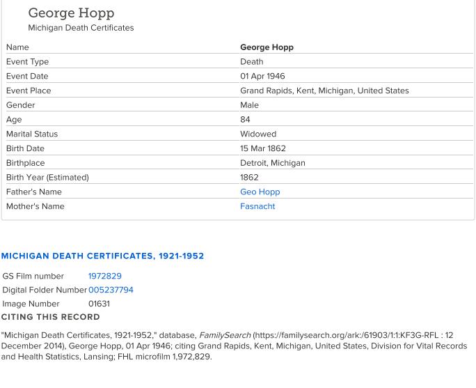 George Hopp_death cert