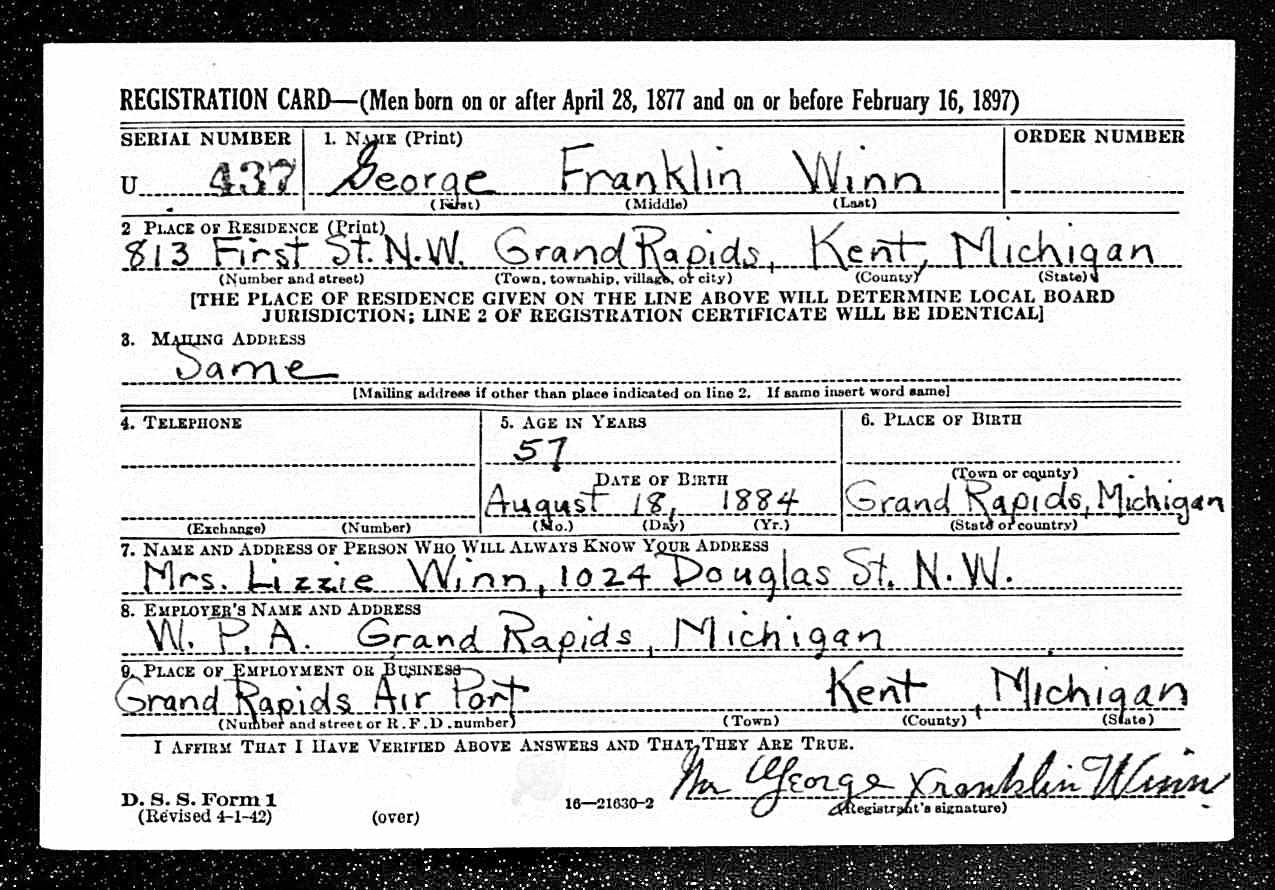 George Winn WWII registration