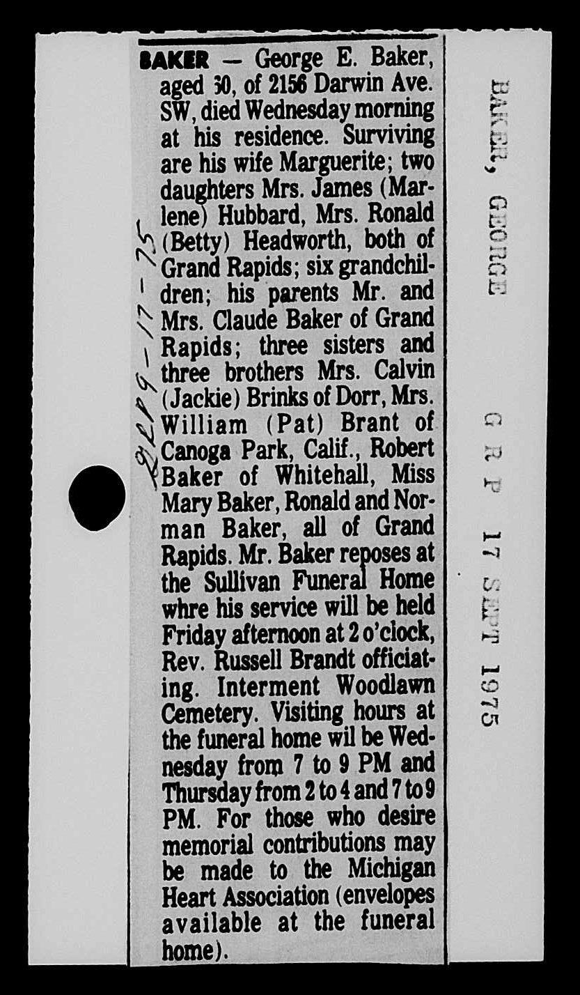 George e Baker obit 2