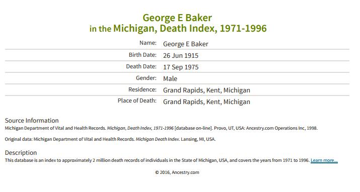 George e Baker_Death