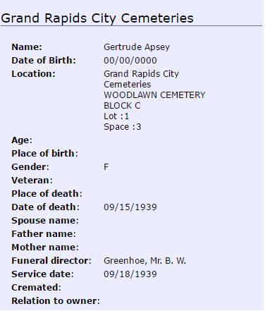Gertrude Apsey_burial