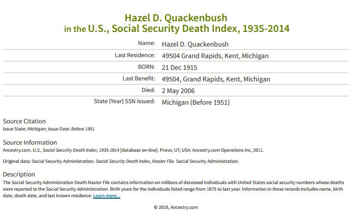 Hazel Quackenbush_death