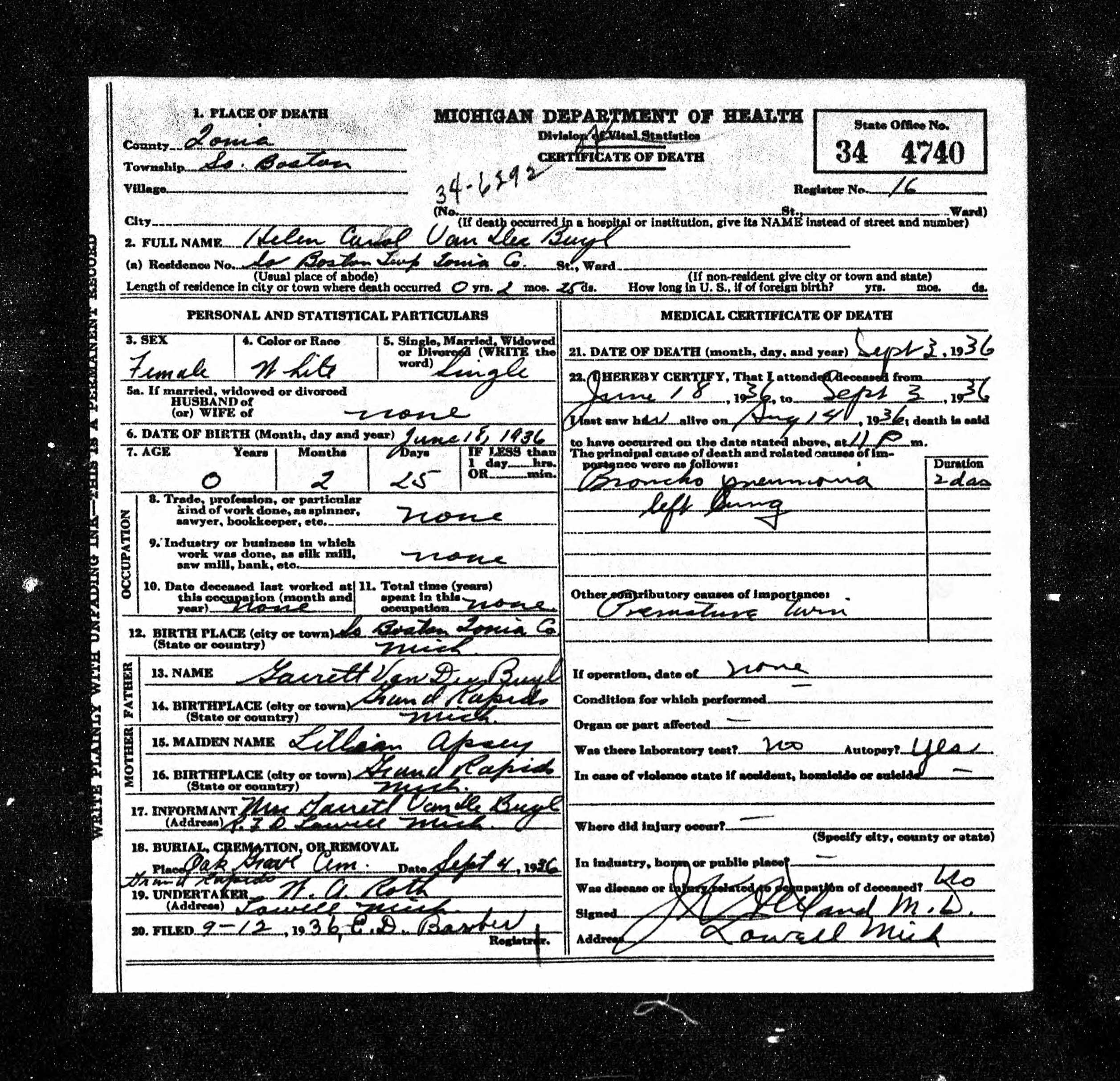 Helen Vandebyl death