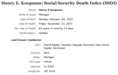 Henry Koopman jr_ssdi