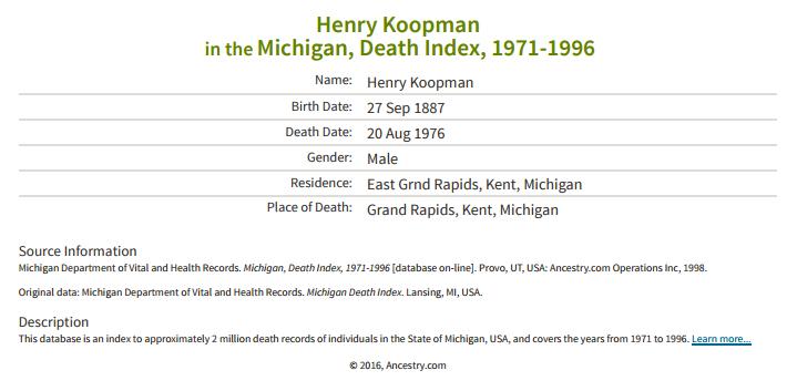 Henry Koopman_death