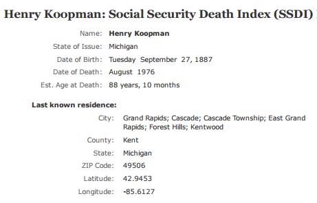 Henry Koopman_ssdi