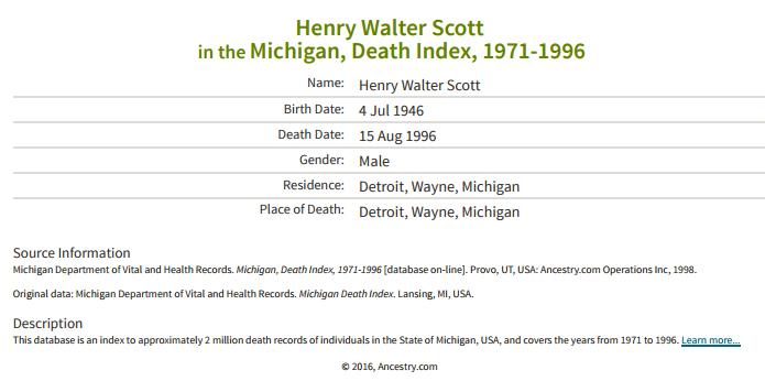 Henry Walter Scott_death