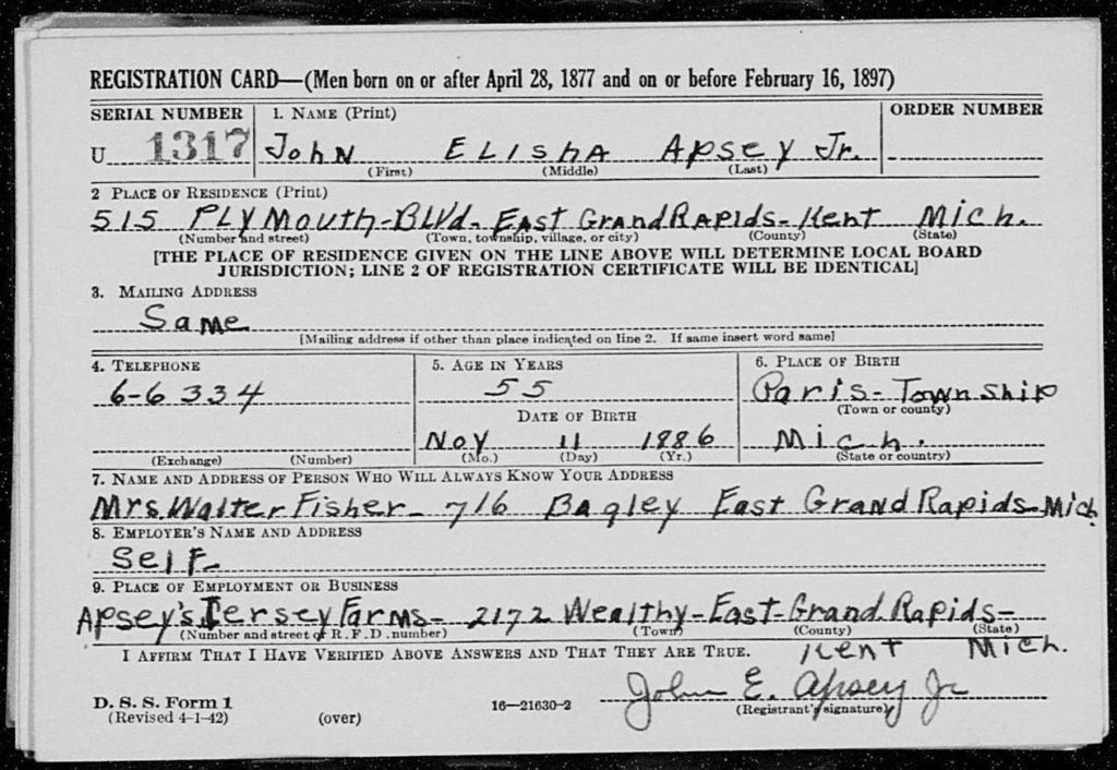John e Apsey Jr WWII draft