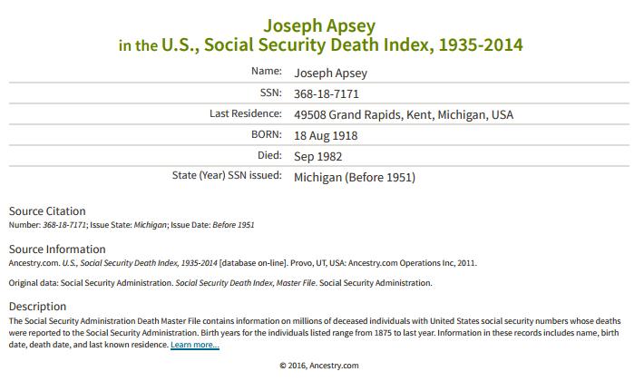 Joseph Apsey_ss death