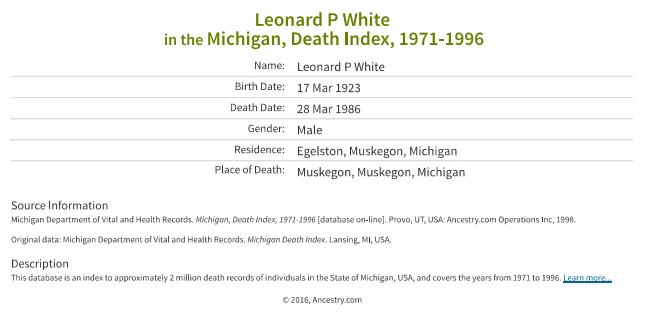 Leonard P White_death