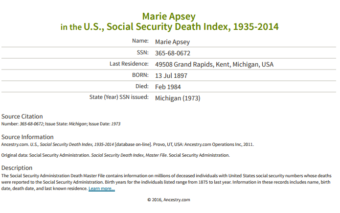 Marie Apsey_ss death