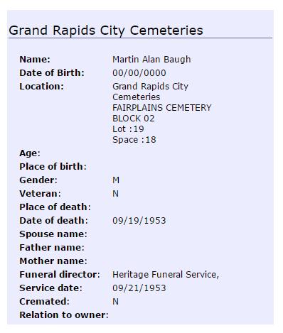Martin Alan Baugh burial