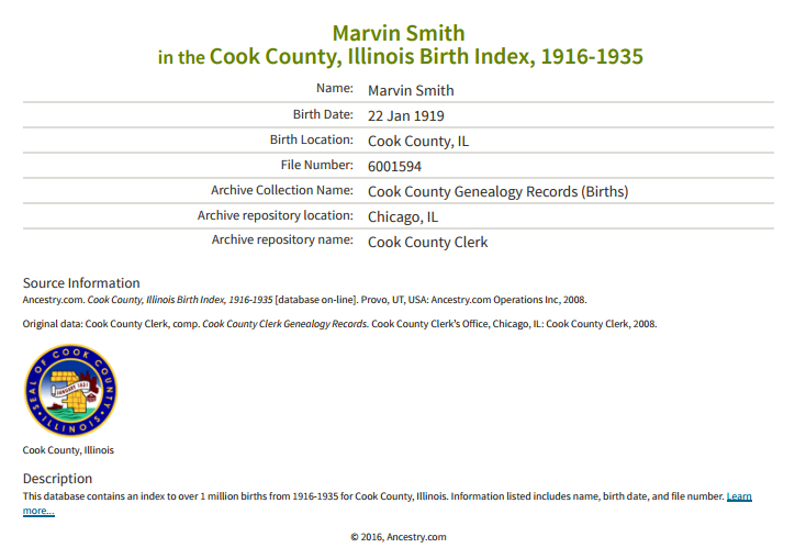 Marvin Smith_birth