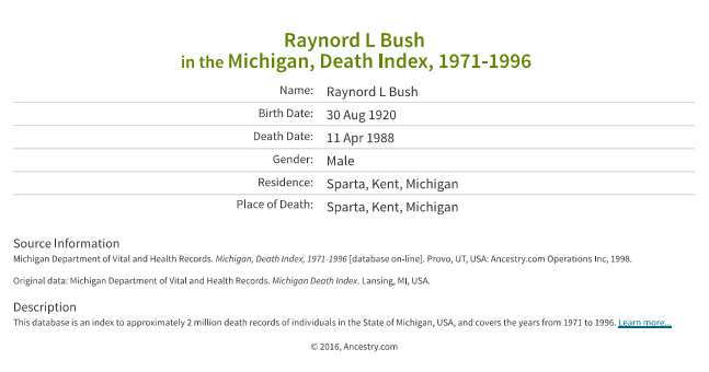 Raynord L Bush_death