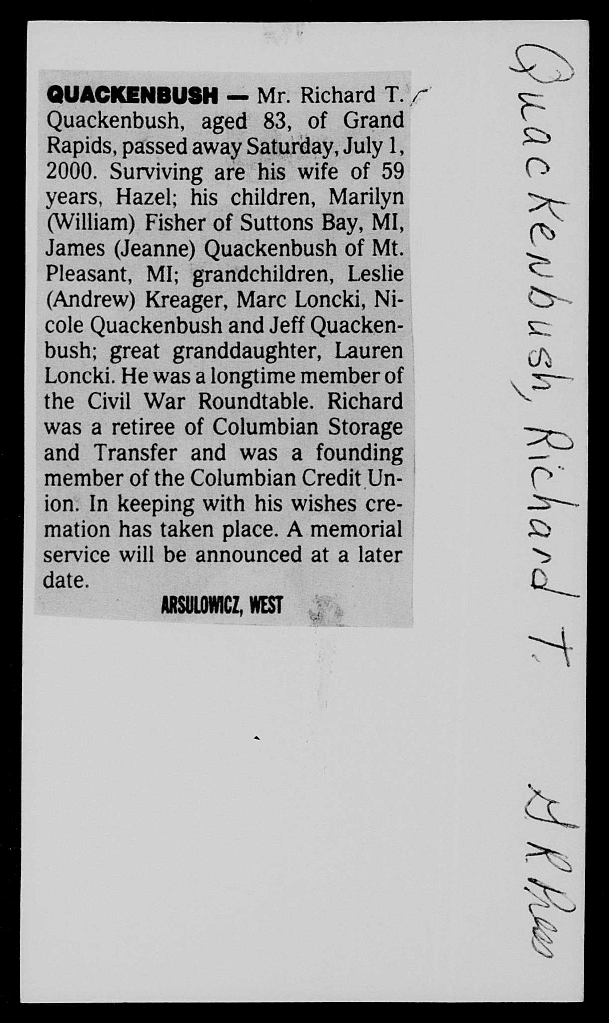 Richard Quackenbush obit  2