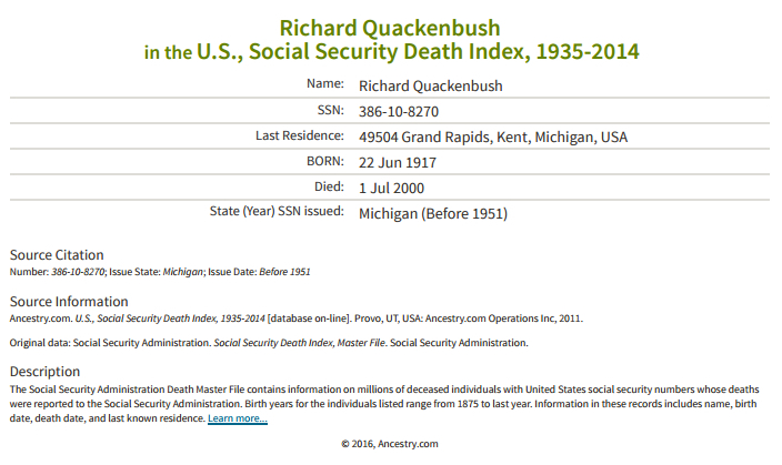 Richard Quackenbush_death