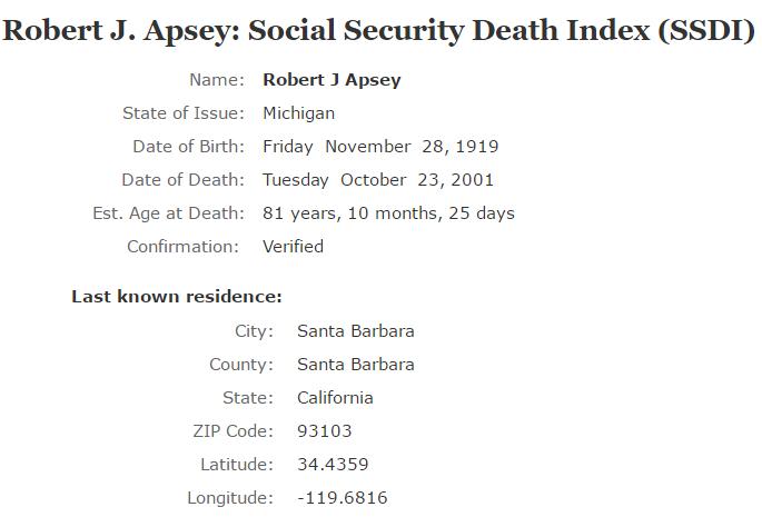 Robert J Apsey_ssdi