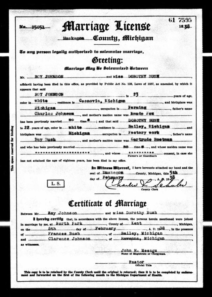 Roy Johnson_Dorothy Bush Marriage